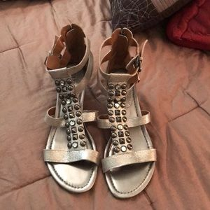 Silver stone accented sandals